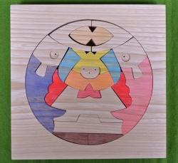 円武者とかがり火,小黒三郎,組み木の節句人形,KK116